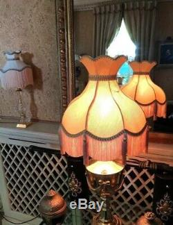 A Vintage Victorian Downton Abbey Traditional Deco100%Gold Moire Silk Lampshade