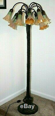 ANTIQUE / VINTAGE 56 Ht. 12 ARM LILY FLOOR LAMP With BRONZE BASE & TRUMPET SHADES