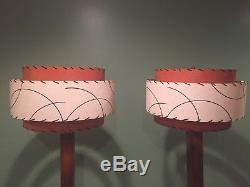 ANTIQUE VINTAGE OAK FLOOR LAMPS with FIBERGLASS SHADES PAIR