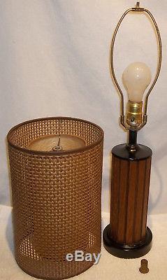 Awesome Pr. Vintage Mid Century Modern Teak Table Lamps ...