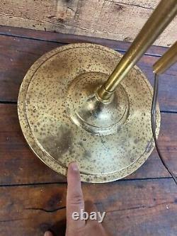 Alsy MCM Vtg Art Deco Brass Adjustable-Height Floor Lamp Clam Shell Shade Light