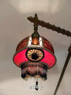 Amazaing 1920s Art Nouveau Bridge Floor Lamp With Original Pink Beaded Shade