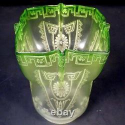 Antique 1890s Art Nouveau Shamrock Etch Green Glass Oil Lamp Shade 2-5/8 Fitter