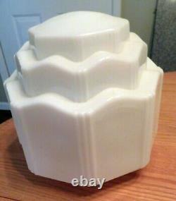 Antique 3 Tiered Milk Glass Art Deco SkyScraper Pendant Light Lamp Shade White