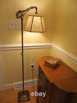 Antique Art Deco Art Nouveau Bridge Arm Floor Lamp with Hexagon Parchment Shade