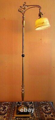 Antique Art Deco Floor Lamp, Antique painted shade