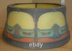 Antique Art Deco Reverse Painted Glass Panel Lamp Shade Vtg Glass Panel Shade