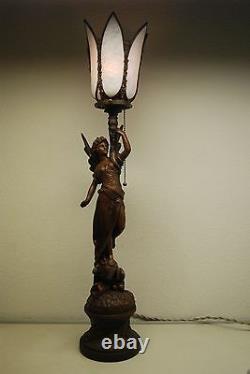 Antique Art Nouveau Deco French Austrian Bronze Gas Slag Glass Shade Erotic Lamp