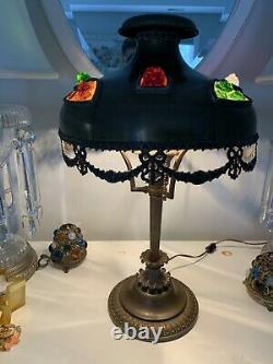 Antique Bradley & Hubbard Brass Jeweled Shade Lamp Mission Arts Crafts