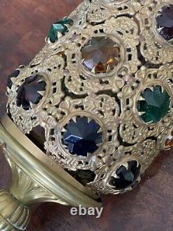 Antique Brass Ormolu Jeweled Shade Fairy Sanctuary Pull Down Lamp Victorian