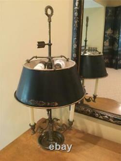 Antique French Bouillotte Lamp with Metal Tole Shade