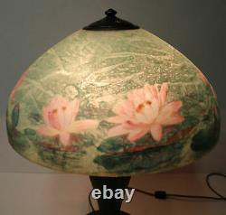 Antique Handel Lamp with Reverse Painted Water Lily Shade