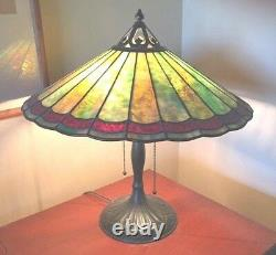 Antique Handel Parasol Table Lamp, Signed Shade and Base, 18 h, 18 d Shade