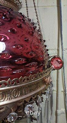 Antique Hanging Oil Lamp Jeweled Frame Cranberry Hobnail Shade