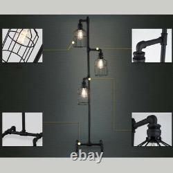 Antique Industrial Steampunk Floor Lamp Vintage 3 Cage Pipe Light