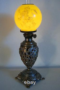 Antique Kerosene Gwtw Miniature Victorian Gild Lion Yellow Glass Shade Oil Lamp