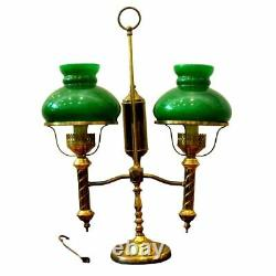 Antique Lamp, Brass Double Arm, Student, Oil-Now Electric, Green Shades, 1800s