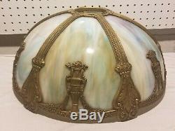 Antique Large Slag Glass Lamp Light Shade 6 Panel Brass Skeleton for Repair