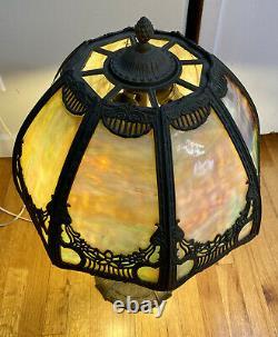 Antique Leaded Slag Glass Lamp Shade 8 Panel Large Ornate with Base