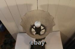 Antique Metal Gas Table Lamp Newel Post Cherub Miller Co Frosted Glass Shade