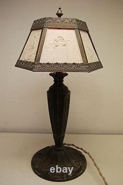 Antique Old Lithophane Shade Table Gwtw Electric Boudoir Victorian Parlor Lamp