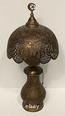Antique Pierced Brass Crescent Moon Table Lamp With Shade Vintage Lamp
