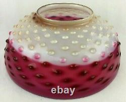 Antique Pink Cranberry White Hobnail 14 Hanging Oil Lamp Shade
