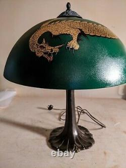 Antique Pittsburgh Lamp with Unique Dragon Shade Bradley& Hubbard, Handel Era