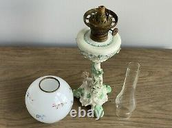Antique Porcelain Figural P & A Mfg Co Oil Lamp Dresden Style Painted Globe GWTW