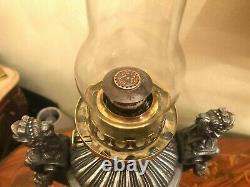 Antique Rare Amazing Beautiful Kerosene Oil Lamp 2 Antique Glass Shades