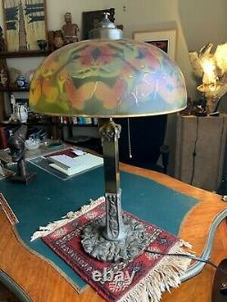 Antique Reverse Painted Lamp Shade and Lamp- Pittsburgh Lamp, Brass & Glass Co
