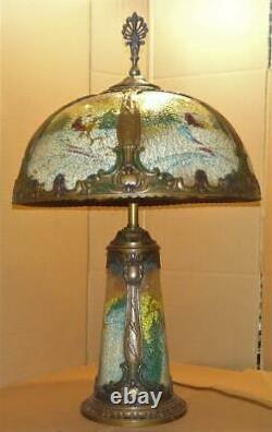 Antique Reverse Painted Table Lamp with Original Polychrome Panel Glass Shade Vtg