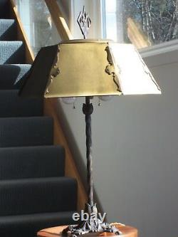 Antique Rustic Cast Iron Gothic Baroque Arts & Crafts Table Lamp Brass Shade