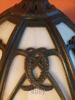 Antique SIGNED Bradley Hubbard Table Lamp Slag Glass Shade- Flower Baskets-Wheat