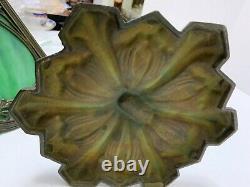 Antique Slag Glass Lamp Art Nouveau Cast Iron 4 Panel Green Shade Table Lamp