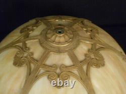 Antique Victorian Art Nouveau 6 Panel Curved Slag Glass Lamp Shade
