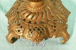 Antique Victorian Art Nouveau Metal Lamp Base With Milk Glass Shade