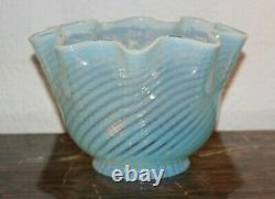 Antique Victorian Blue Opalescent Swirl Glass Lamp Shade Ruffled Edge PERFECT