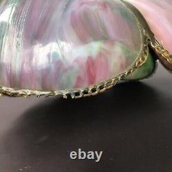 Antique Victorian Lavender / Green Slag Glass Shade