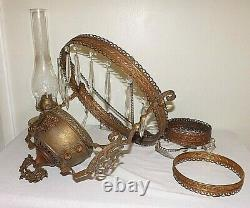 Antique Victorian Vintage Hanging Oil Lamp with Clear Crystal Prisms No Shade