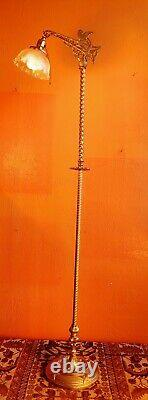 Antique Victorian Wrought Iron Floor Lamp Gold color. Antique Shade