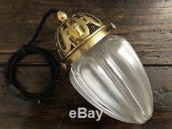 Antique Vintage Art Deco Nouveau Acorn Glass Pendant Light Lamp Teardrop Opaline