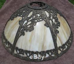 Antique vintage art nouveau deco bowed slag stained glass lamp shade aloadofball Gallery