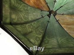 Antique Vintage Art Nouveau Glass Lamp Shade 8 Panel Curved 2 Tone Slag Light
