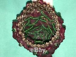 Antique Vintage Czechoslovakia Czech Red Glass Bead Bulb Cover Lamp Shade Newel