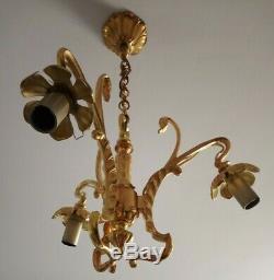 Antique Vintage French Art Nouveau Chandelier Bronze Cameo Glass Shades Lamp