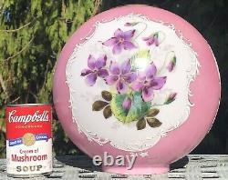 Antique Vintage GWTW Glass Lamp Shade Globe Hand Painted Flower Violets Kerosene