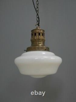 Antique Vintage Opaline Pendant Light Lamp Shade Glass School Chapel