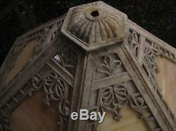 Antique Vintage Slag Glass And Metal 6 Panel Scroll Ornate
