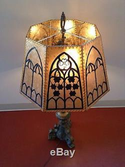 Antique vintage style mica lampshade with gothic hand painting antique vintage style mica lampshade with gothic hand painting and sinew lace aloadofball Images